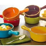 Colorful and durable oven safe stoneware soup bowls with handles