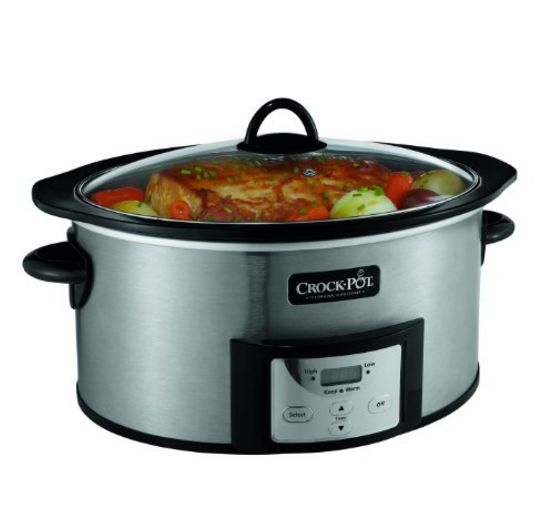 Crock Pot 6 Quart Programmable slow cooker with browning feature-stainless steel