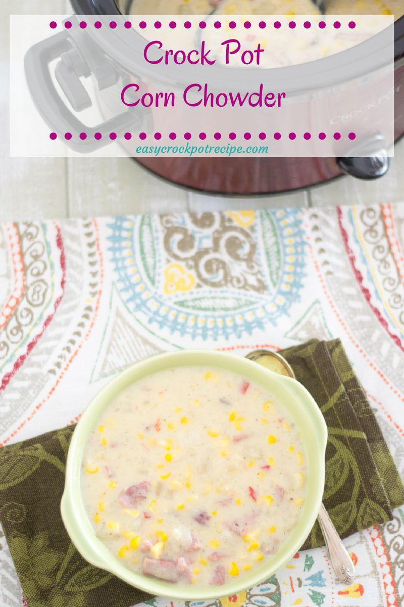 Easy Crock Pot Corn Chowder with Ham recipe via easycrockpotrecipe.com