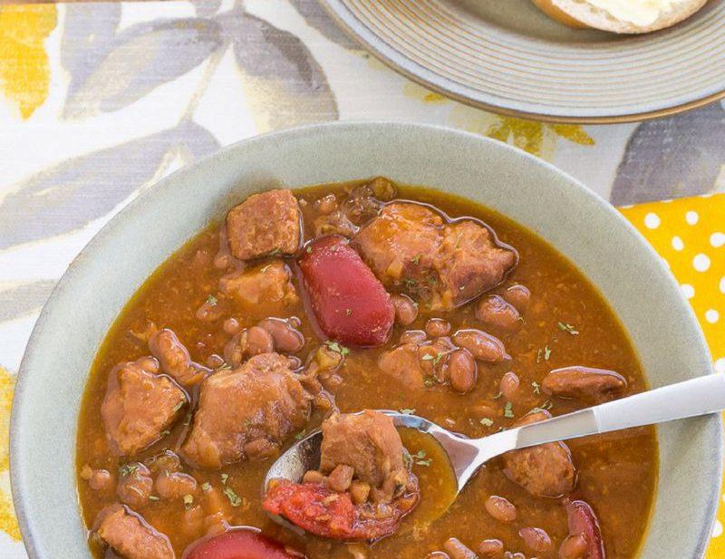 Crock Pot Slow Cooker Pork Baked Bean Soup recipe via easycrockpotrecipe.com