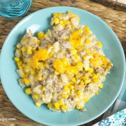 Easy Crock Pot Cowboy Casserole recipe via easycrockpotrecipe.com